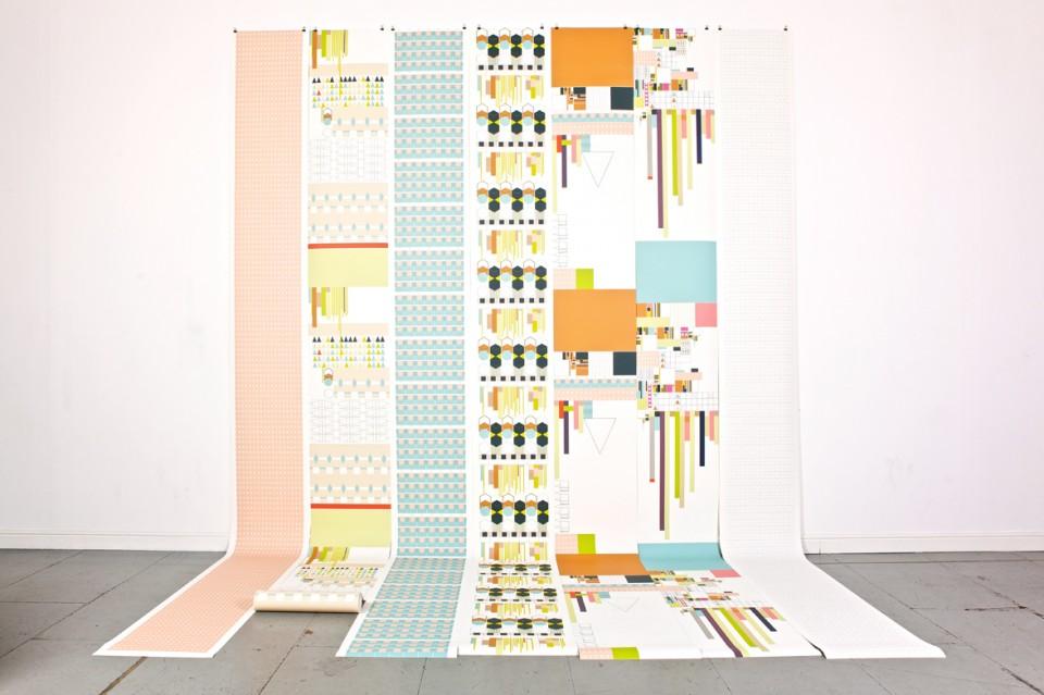 Papiers peints aux motifs géométriques et couleurs pastels