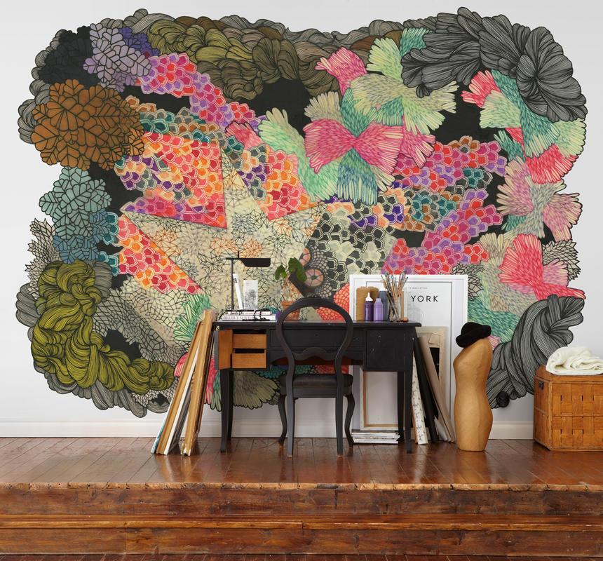 Mur aux motifs colorés