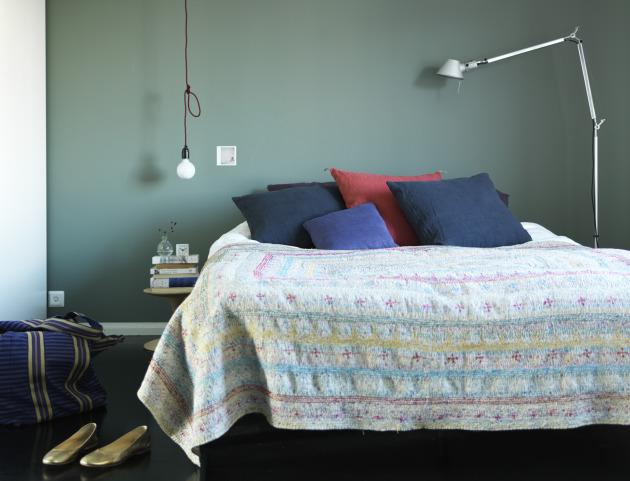 Chambre dans les tons bleus et verts