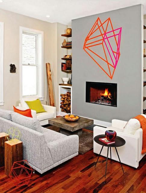 Canapé, fauteuils et déco murale en masking tape