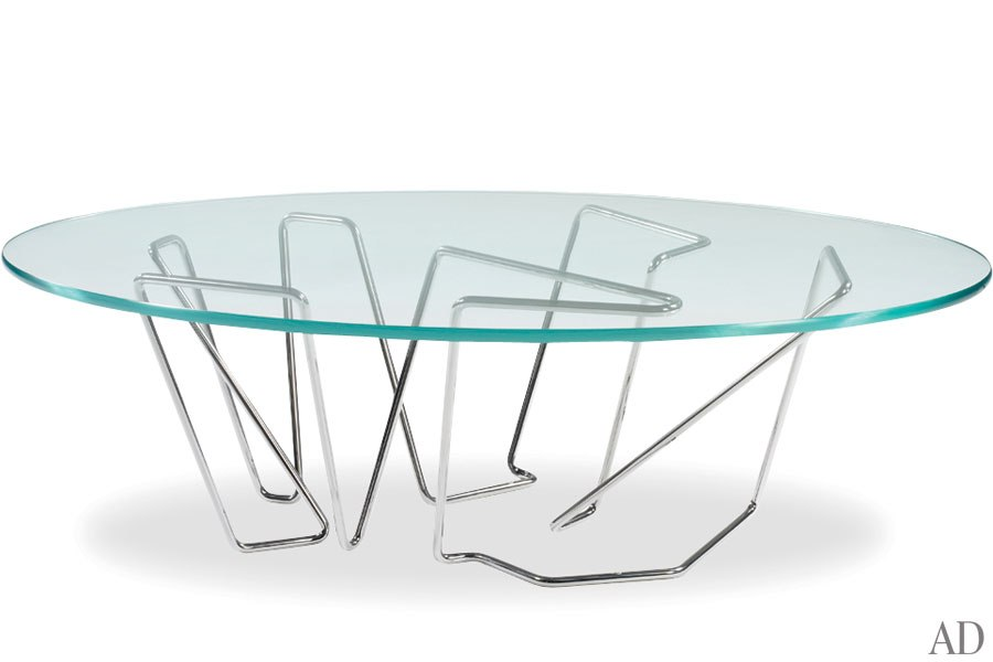 Table en verre et nickel
