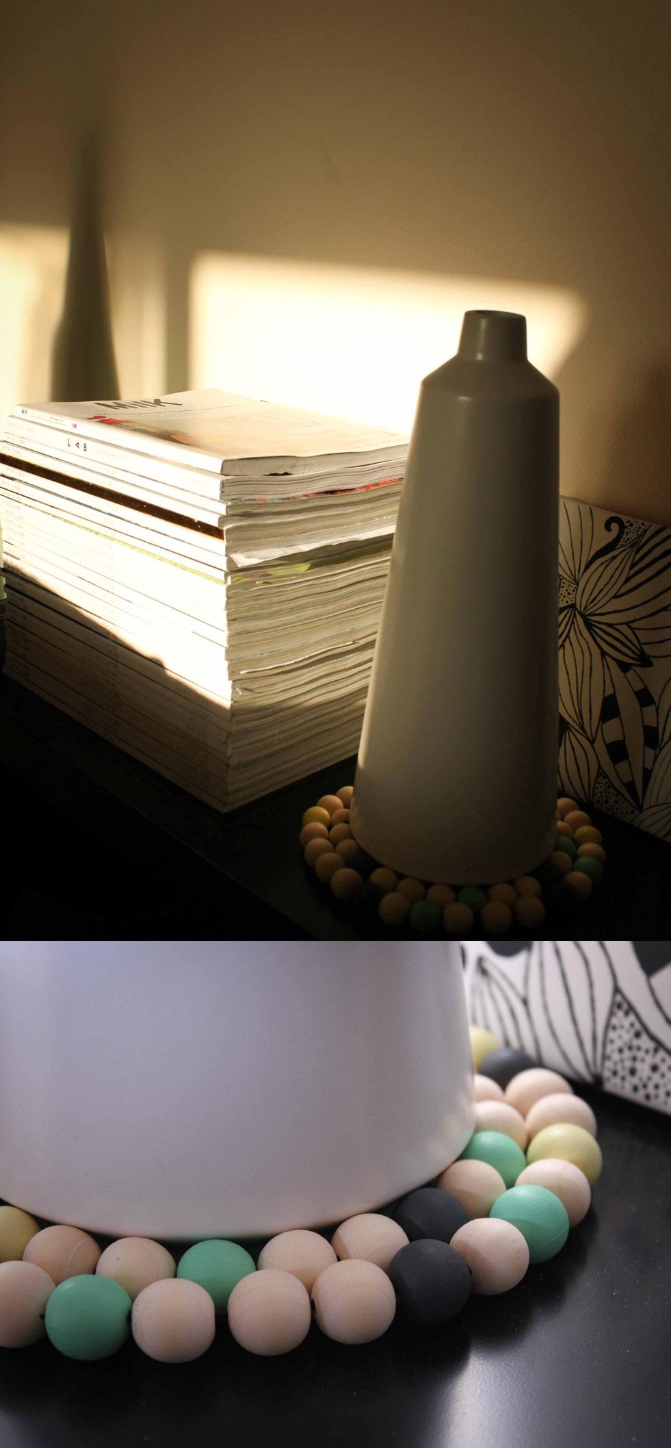 Dessous de plat en perles de bois