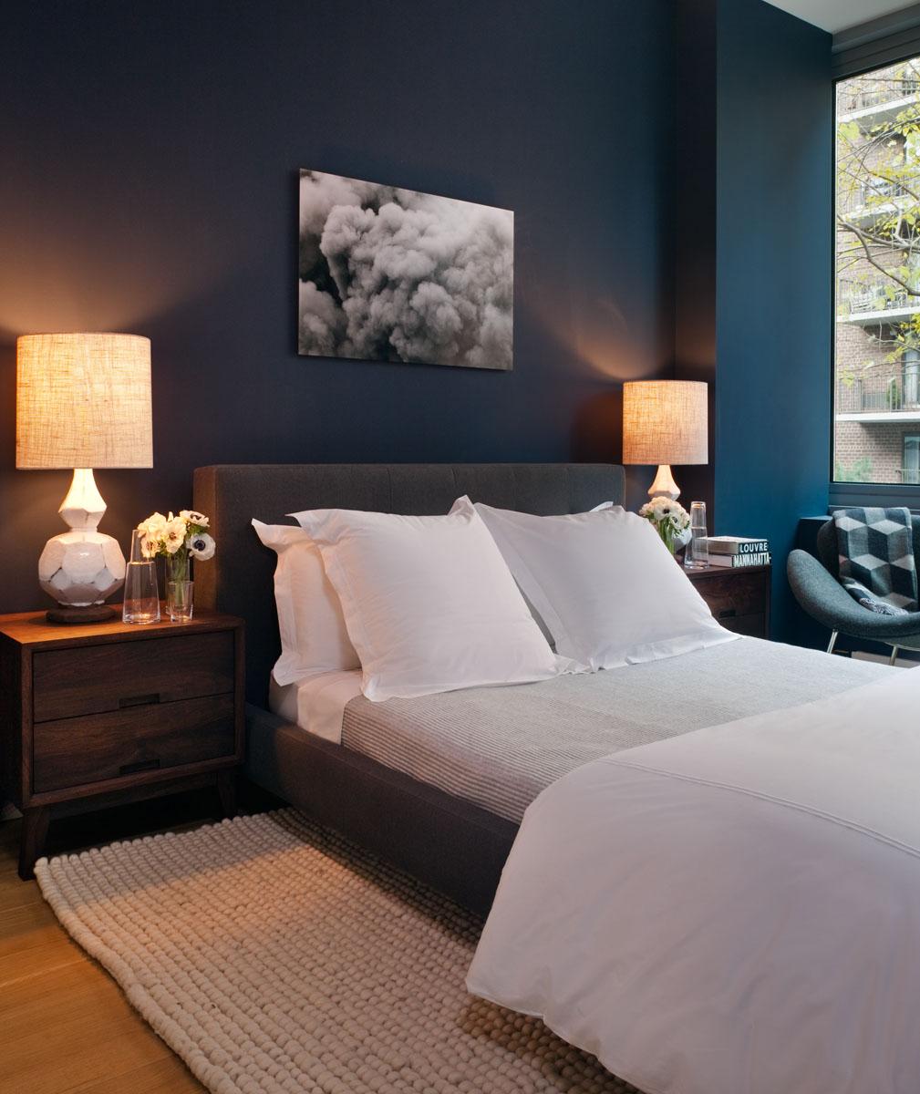 Chambre couleur anthracite et bleu