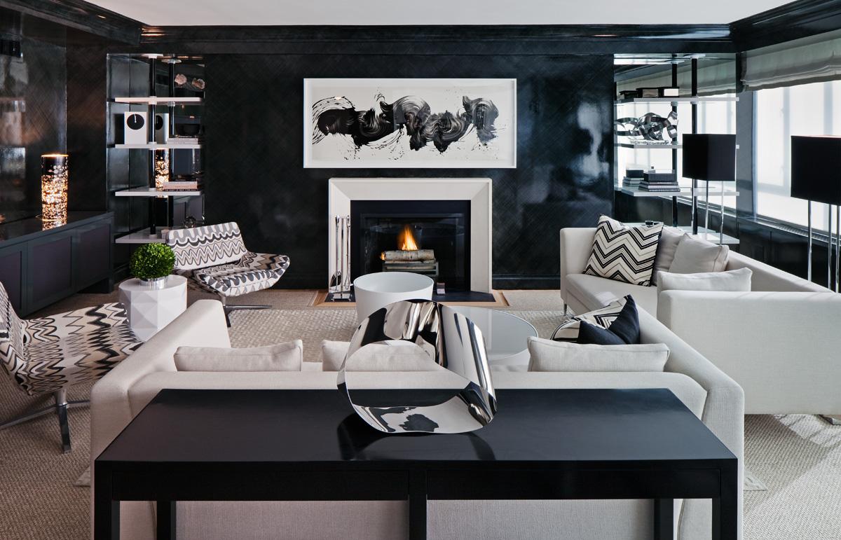 Un intérieur noir et blanc - le séjour