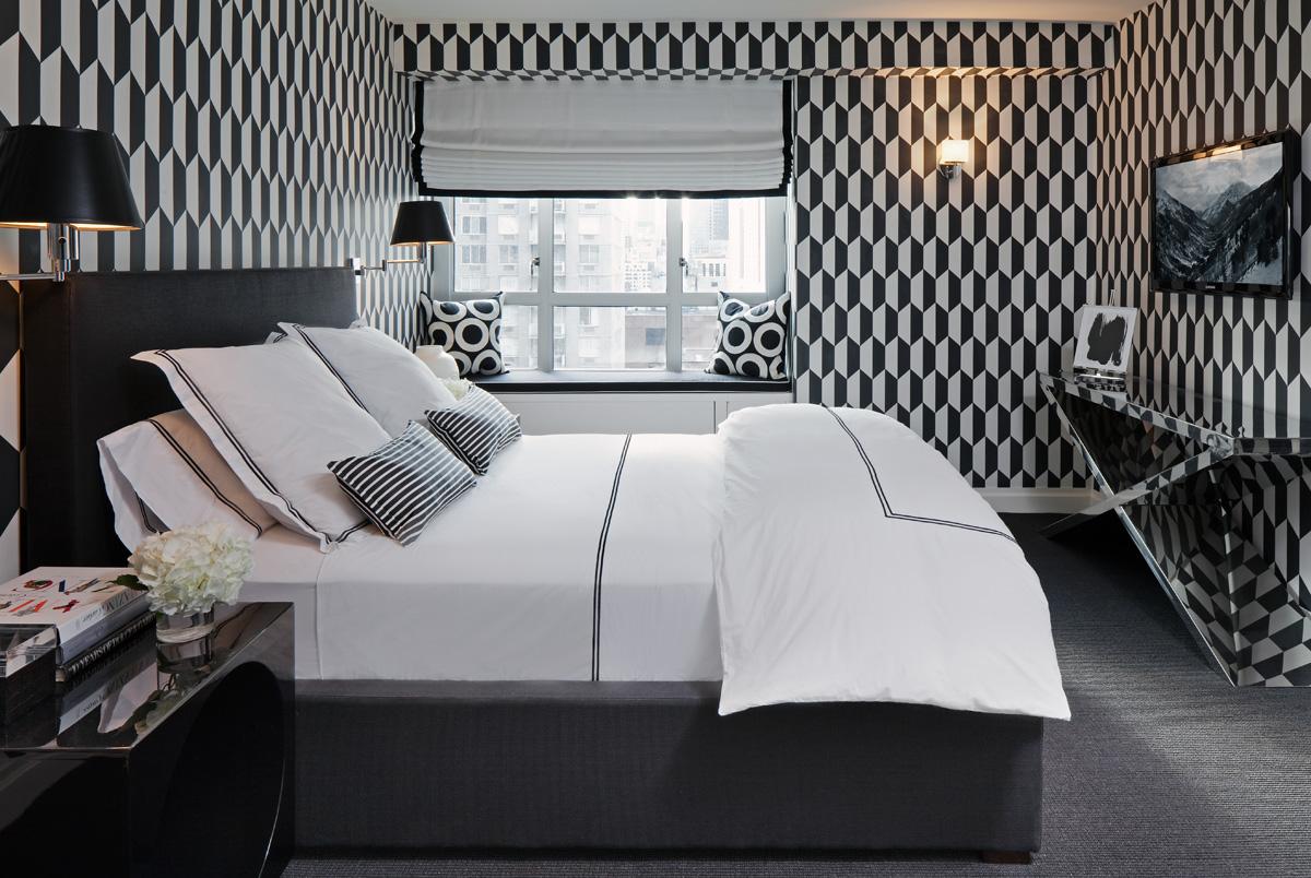 Un intérieur noir et blanc - la chambre