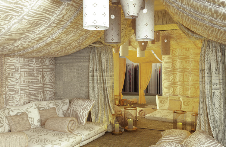 La tente de l'Himalaya vêtue de tissus Pierre Frey