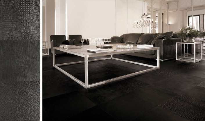 des carreaux de cuir au sol with carrelage sol noir brillant. Black Bedroom Furniture Sets. Home Design Ideas