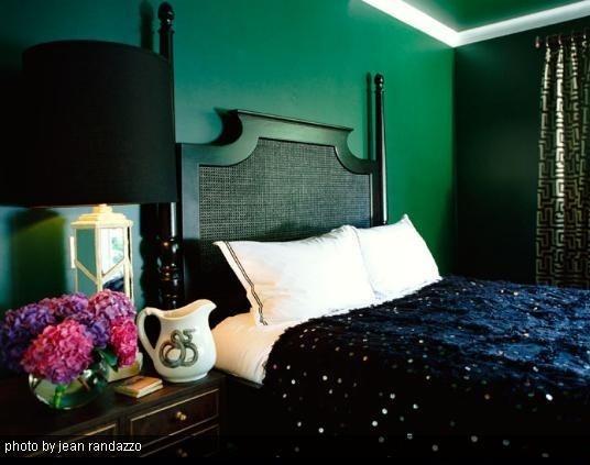 Mur vert émeraude et mobilier noir