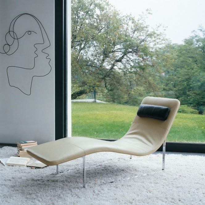 Chaise longue en cuir