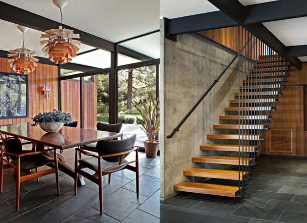 La salle à manger très lumineuse et l'escalier à l'esprit industriel