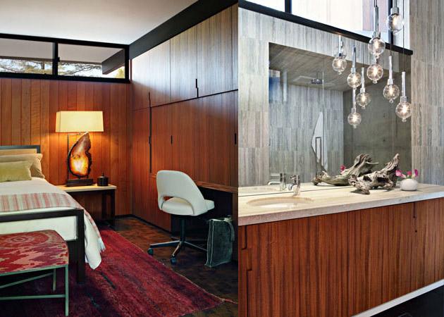 La chambre et la salle de bain au style Mid-Century