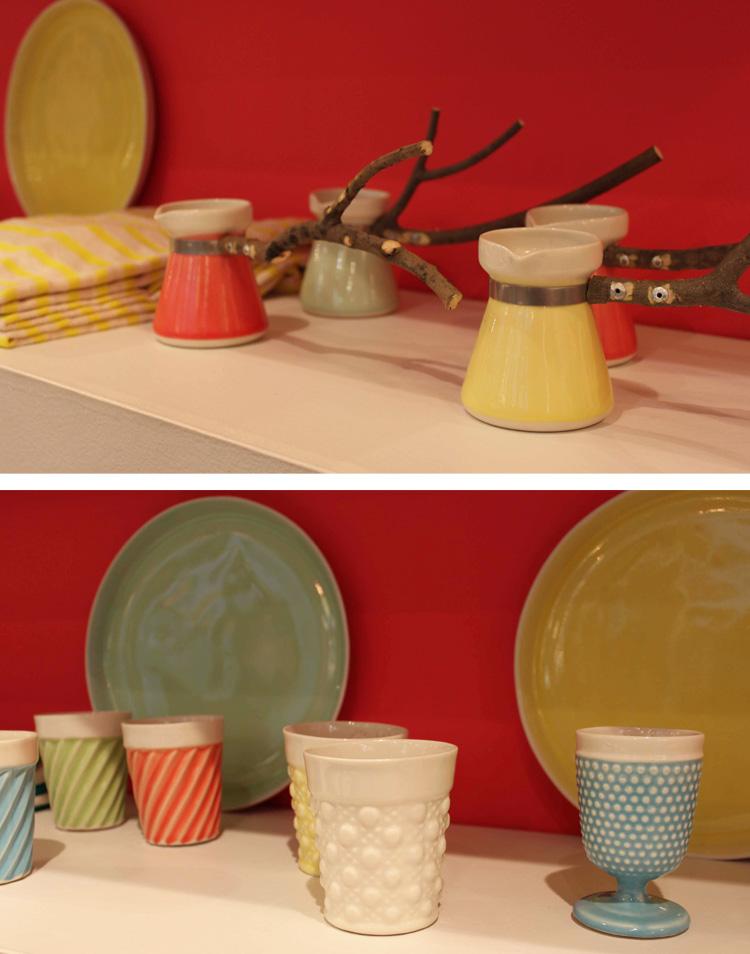 Vaisselle en céramique, bois et couleurs tendres