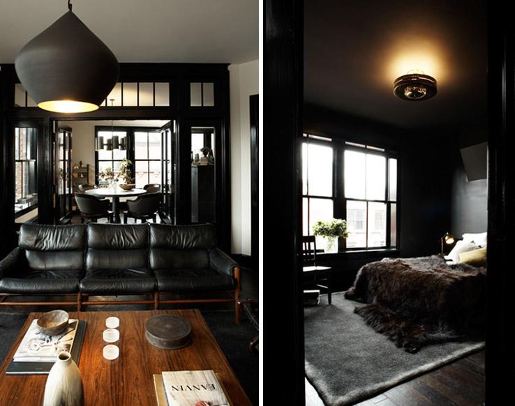 Dans le chambre, le plafond est peint en noir pour plus d'intimité