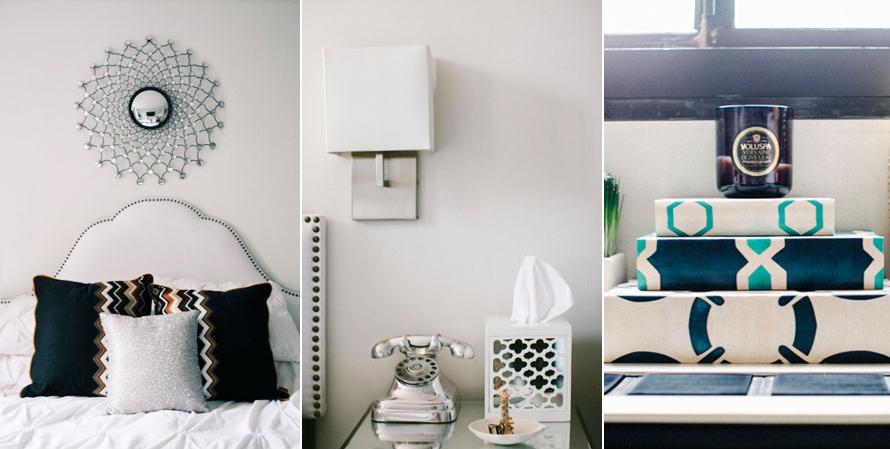 Tête de lit en tissus et coussins à imprimés graphiques