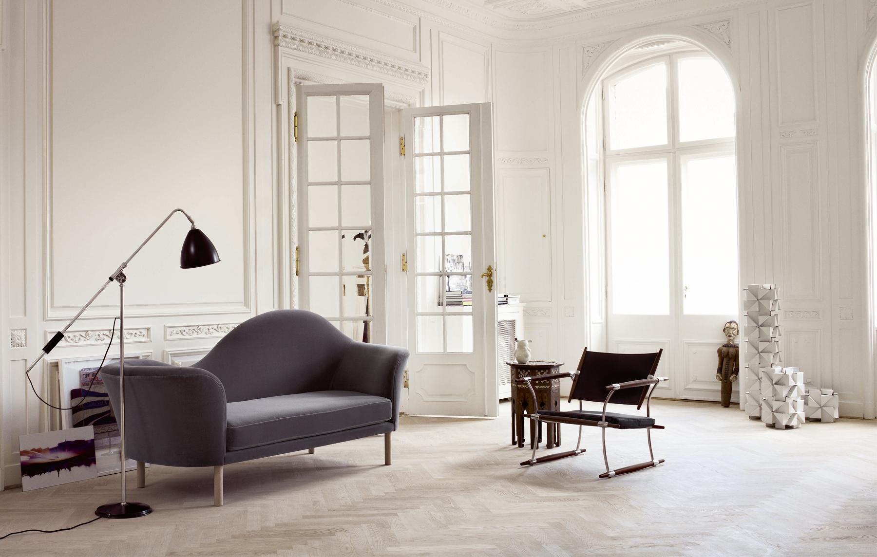 Canapé en velours gris