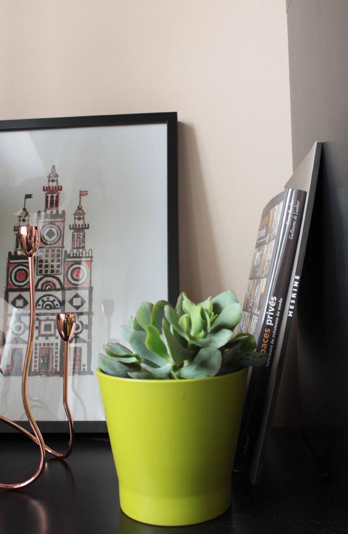 Bougeoir cuivré Fleux et cache-pot Ikea