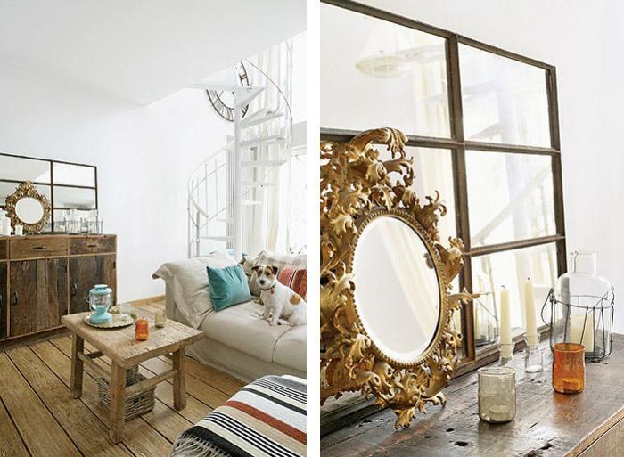 Meuble chiné et miroir ancien