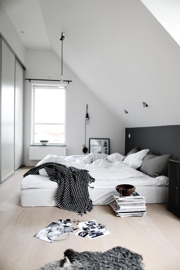 Chambre en noir, blanc et gris