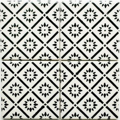 Carrelage motifs graphiques en noir et blanc