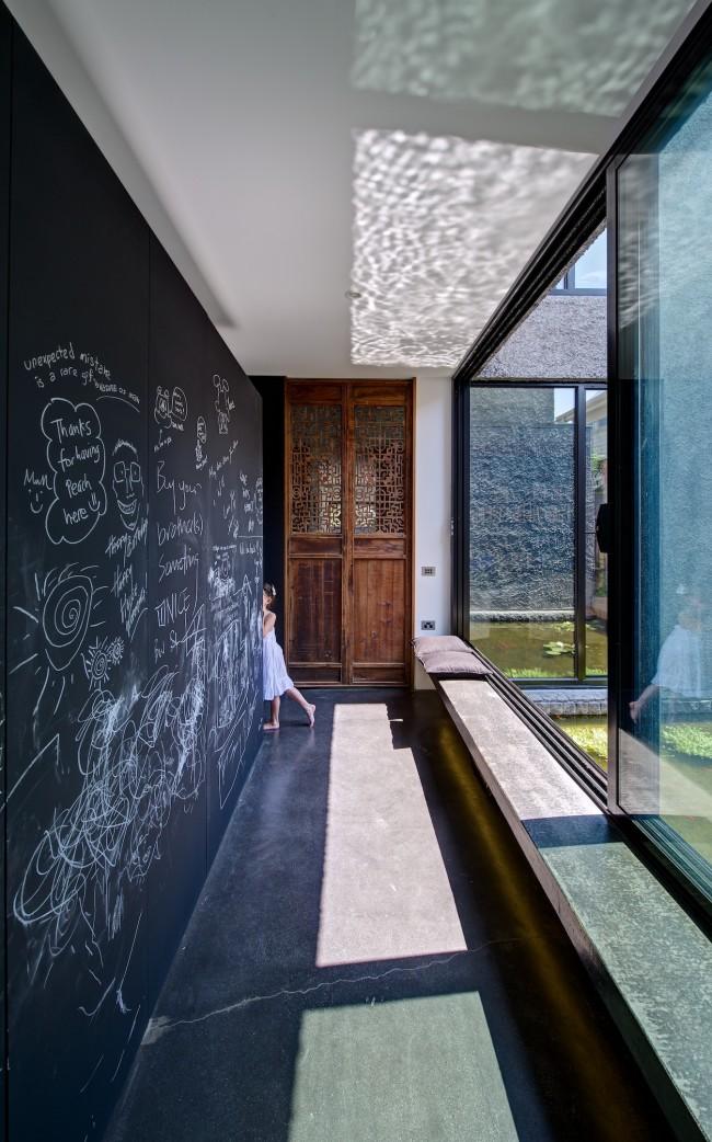 Mur ardoise dans une maison moderne