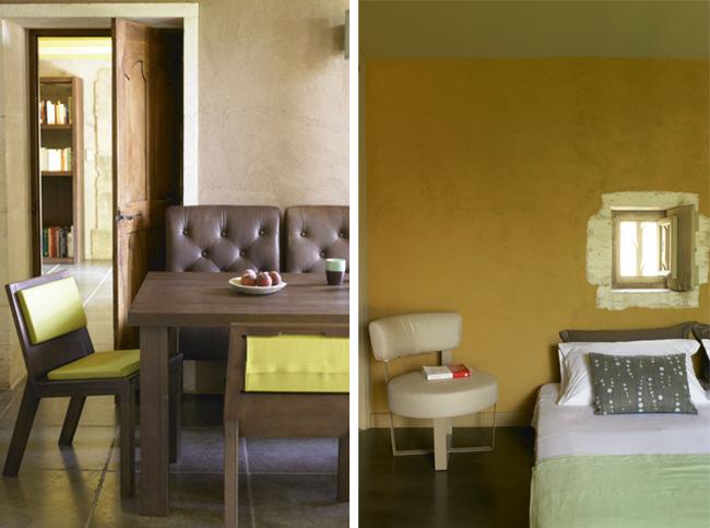 Dans ce mas provençal, la couleur jaune est au rendez-vous : au mur, dans le mobilier... Elle est partout !