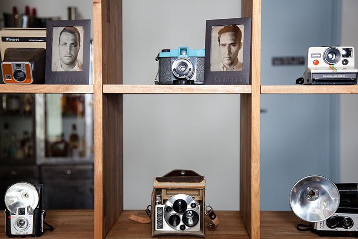 Détails de la décoration d'intérieur : collection d'appareils photos vintage