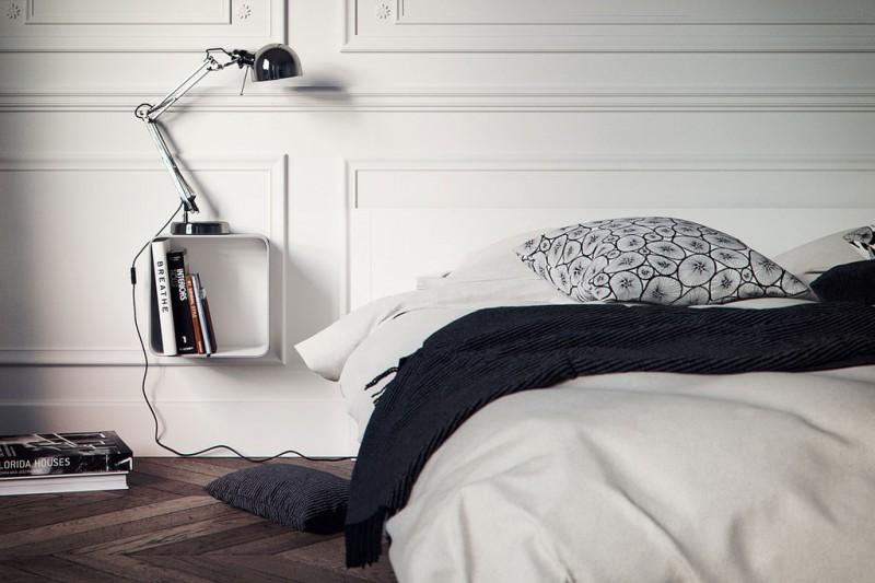 Chambre contemporaine dans un appartement style haussmannien
