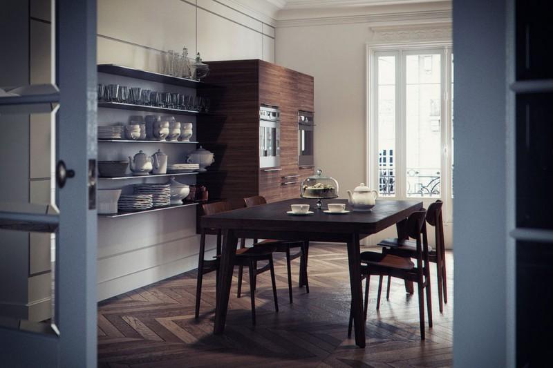 Cuisine et salle à manger contemporaine dans un intérieur haussmannien