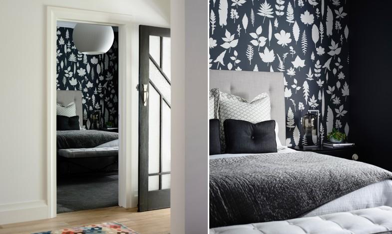Une chambre en noir, blanc et gris.