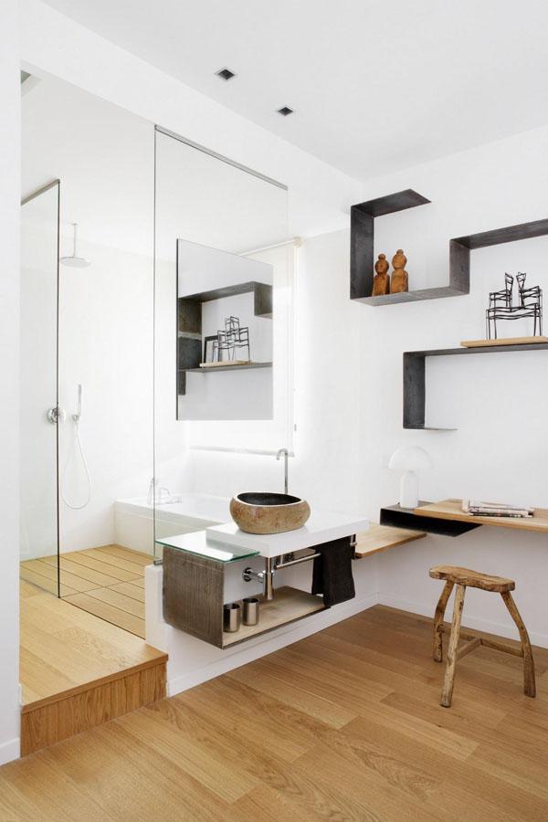 Chambre avec salle de bain ouverte