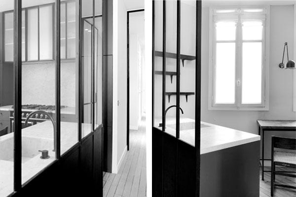 Loft appartement haussmannien le travail de nicolas for Cloison verre cuisine