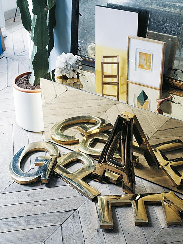 Mobilier métal doré