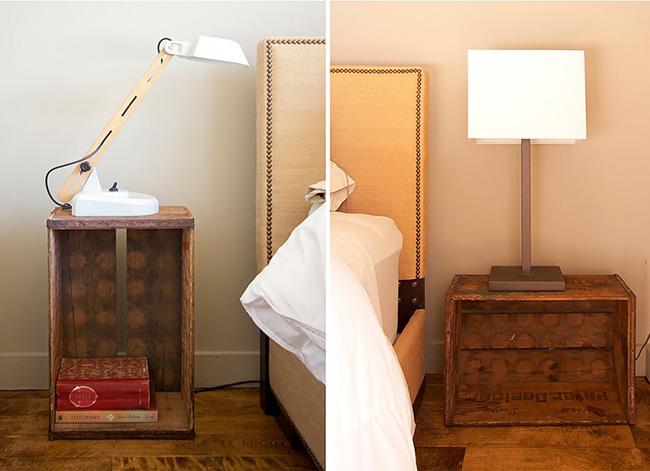 Caisse vintage en bois comme tables de chevet