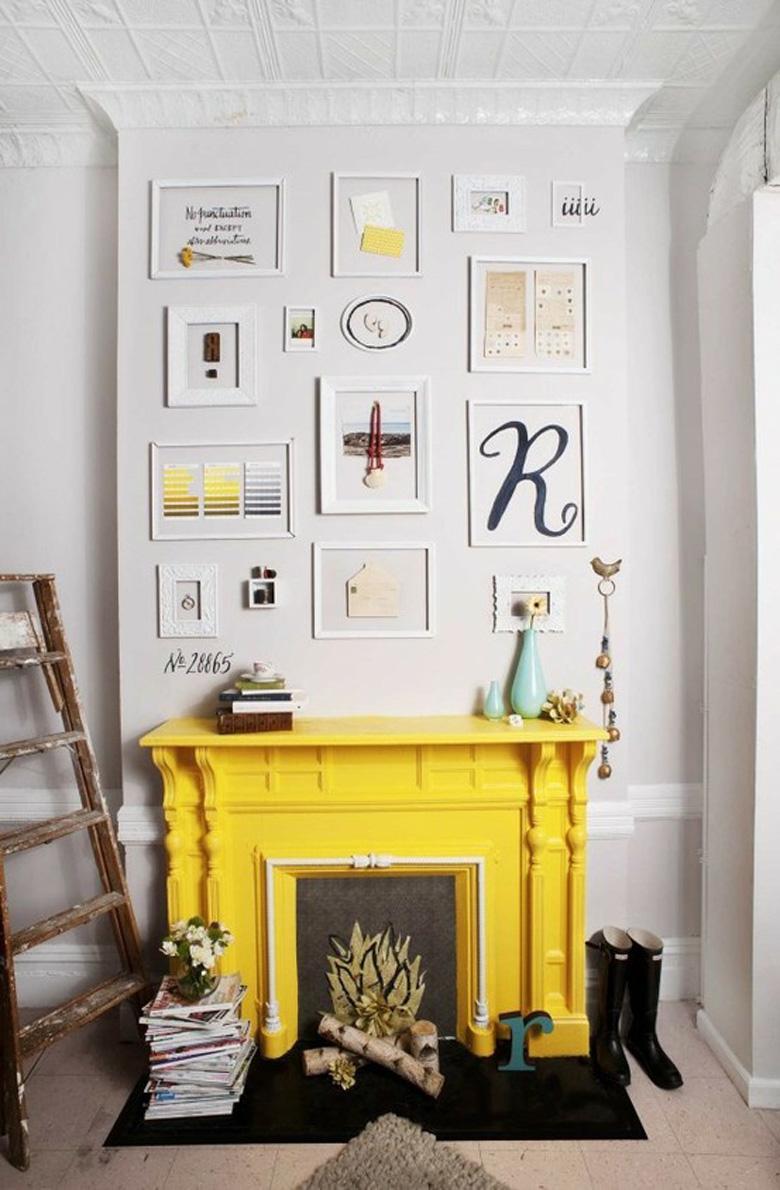 Peindre sa cheminée en jaune