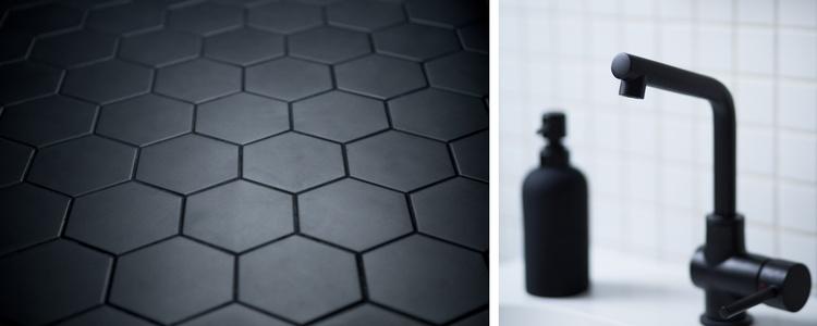 Une salle de bain en noir et blanc frenchy fancy for Salle de bain avec sol noir