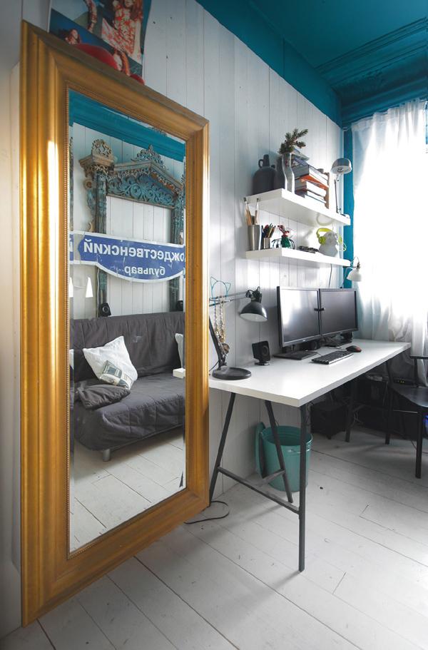 Un plafond couleur bleu canard frenchy fancy for Peindre un miroir dore