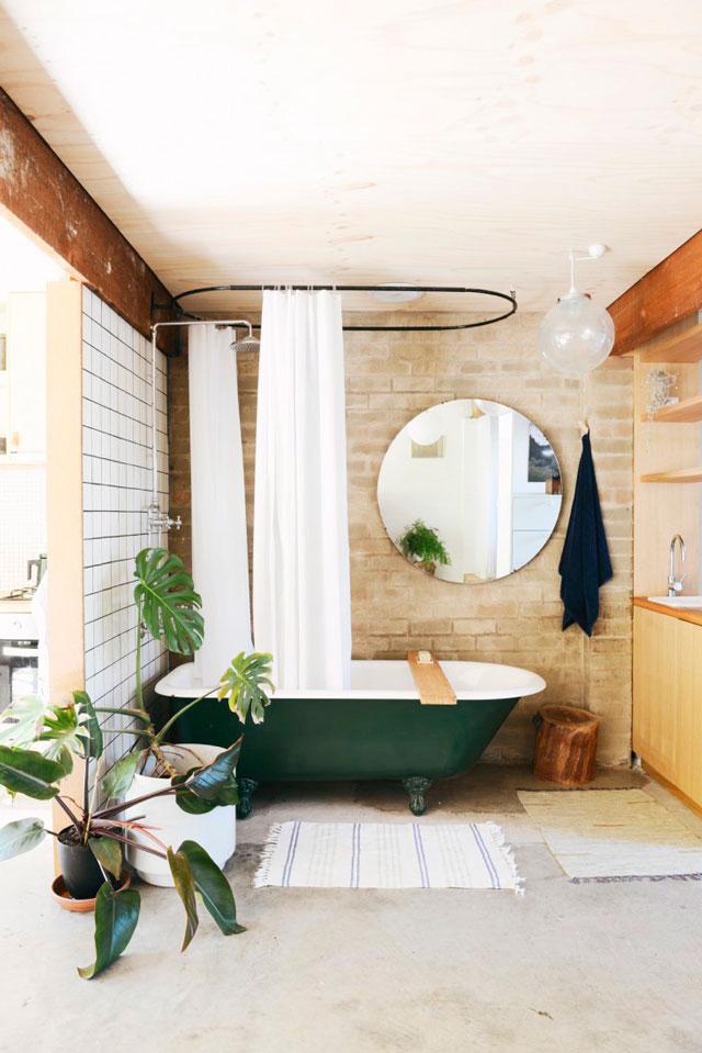Des plantes vertes dans la salle de bain frenchy fancy for Salle de bain baignoire pied de lion