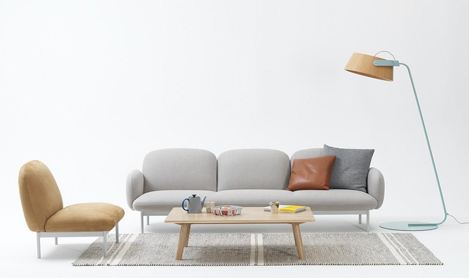 Canapé contemporain gris clair