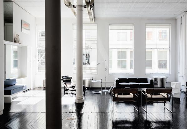 un loft en noir blanc frenchy fancy. Black Bedroom Furniture Sets. Home Design Ideas