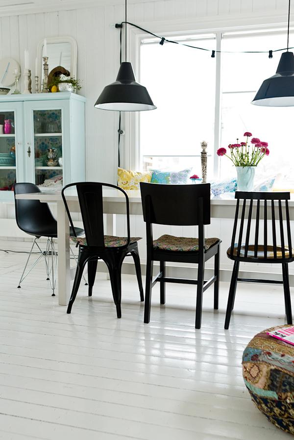 5 idees pour vous convaincre de depareiller vos chaises for Meuble salle À manger avec chaise cuisine noire