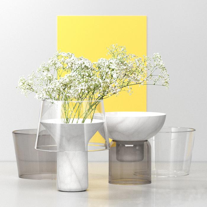 Vase design en verre et marbre
