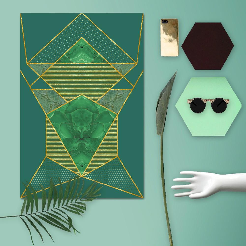 Affiche graphique vert émeraude et or