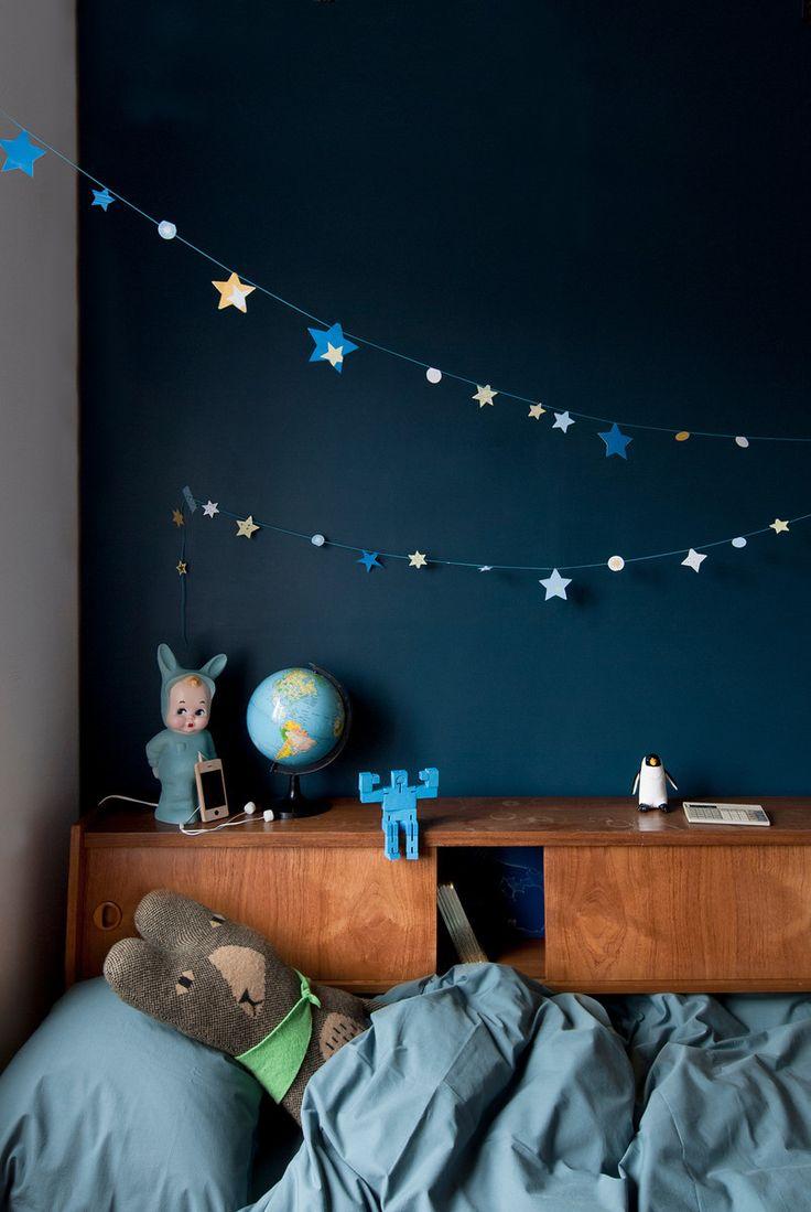 Mur bleu nuit idée décoration