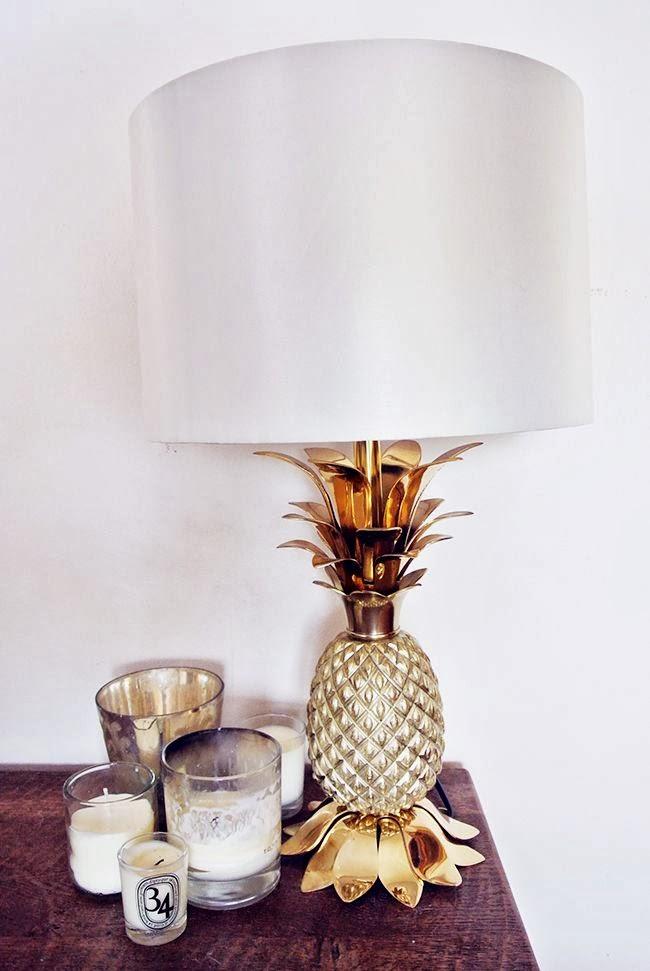 Lampe Ananas dorée