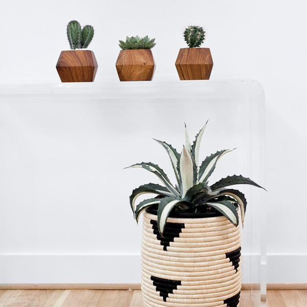 Cache pot en bois design