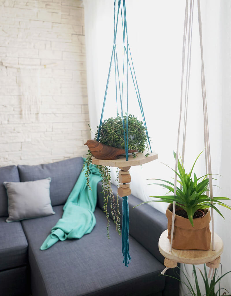 Suspension pour plante verte en bois design