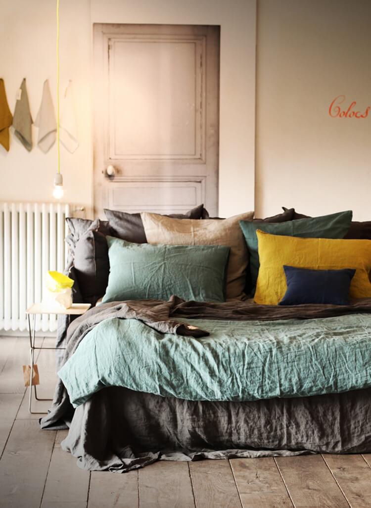 Linge de lit couleur bleu