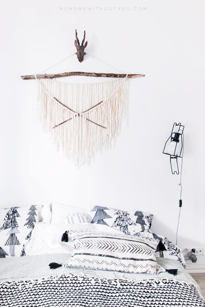 Linge de lit noir et blanc graphique