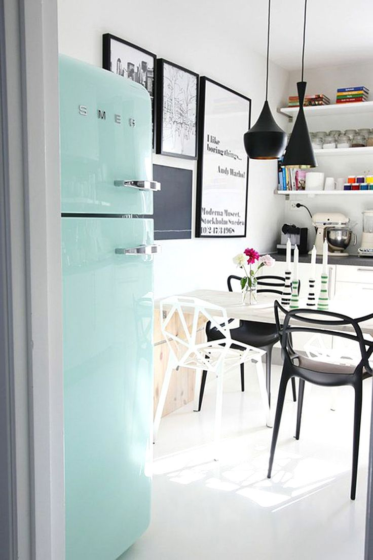 Inspiration du mint dans la cuisine frenchy fancy for Interieur frigo smeg