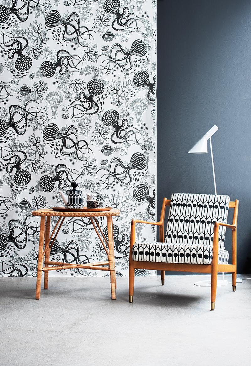 Papier peint motif pieuvre